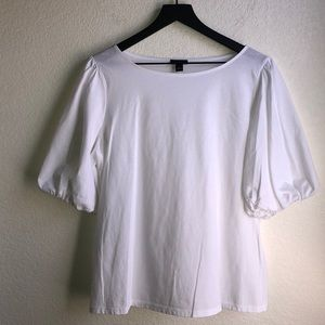 Ann Taylor Factory White Top Puffy Sleeves Size L
